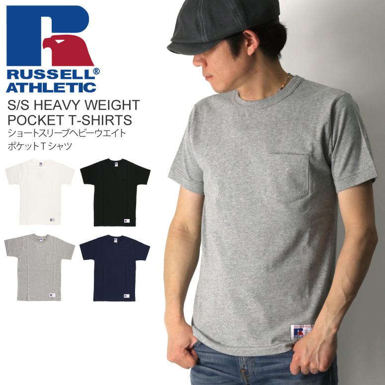 943d3482e1705c 【送料無料】RUSSELLATHLETIC(ラッセルアスレティック)ショートスリーブヘビーウエイトポケットTシャツ