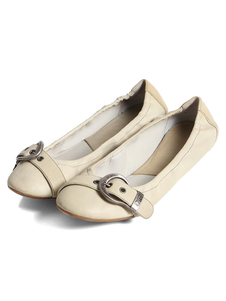 【クリスチャン ディオール】Christian Dior フラットシューズ ホワイト 37 1/2(約23.5cm~24cm)【中古】【鑑定済・正規品保証】