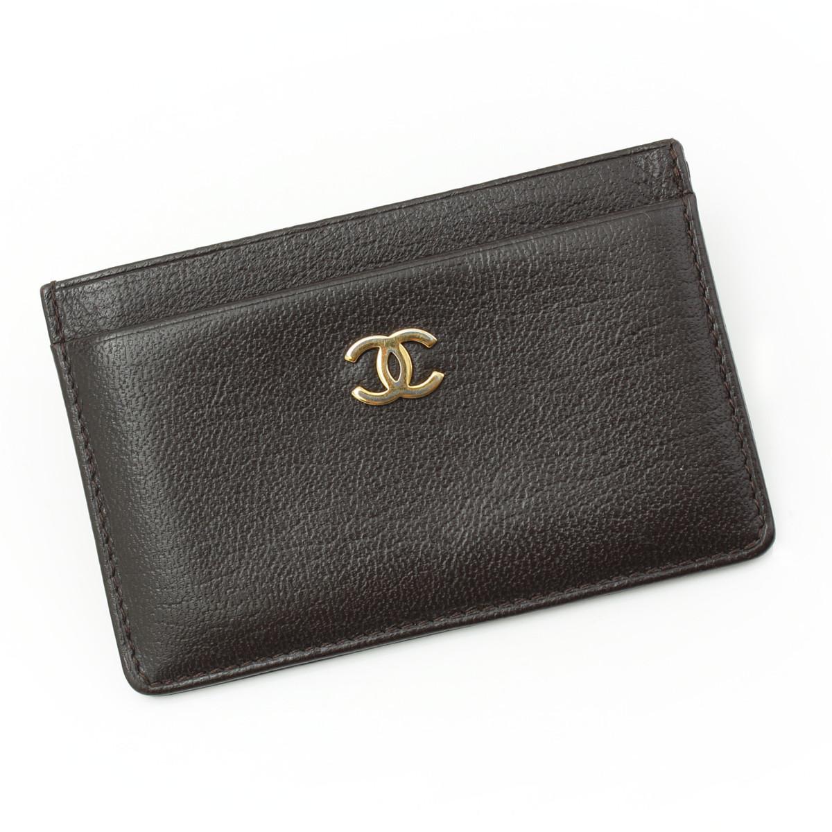 【シャネル】Chanel ココマーク レザー カードケース ダークブラウン 【中古】【鑑定済・正規品保証】26149