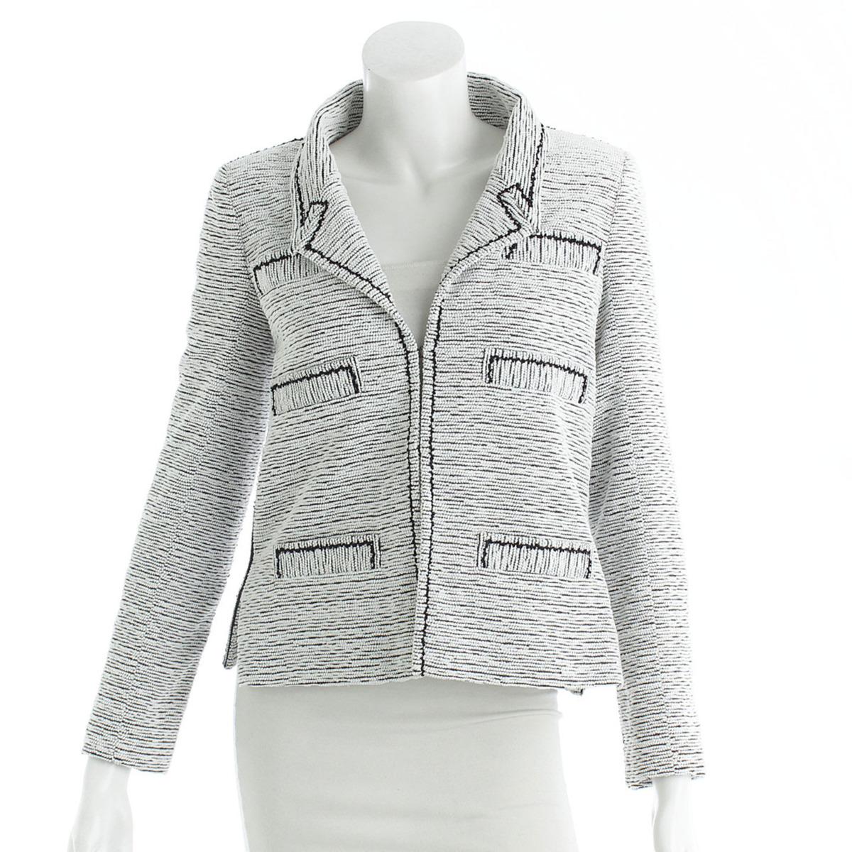 【シャネル】Chanel ツイード ジャケット ホワイト×ブラック 34 【中古】【鑑定済・正規品保証】【送料無料】25738