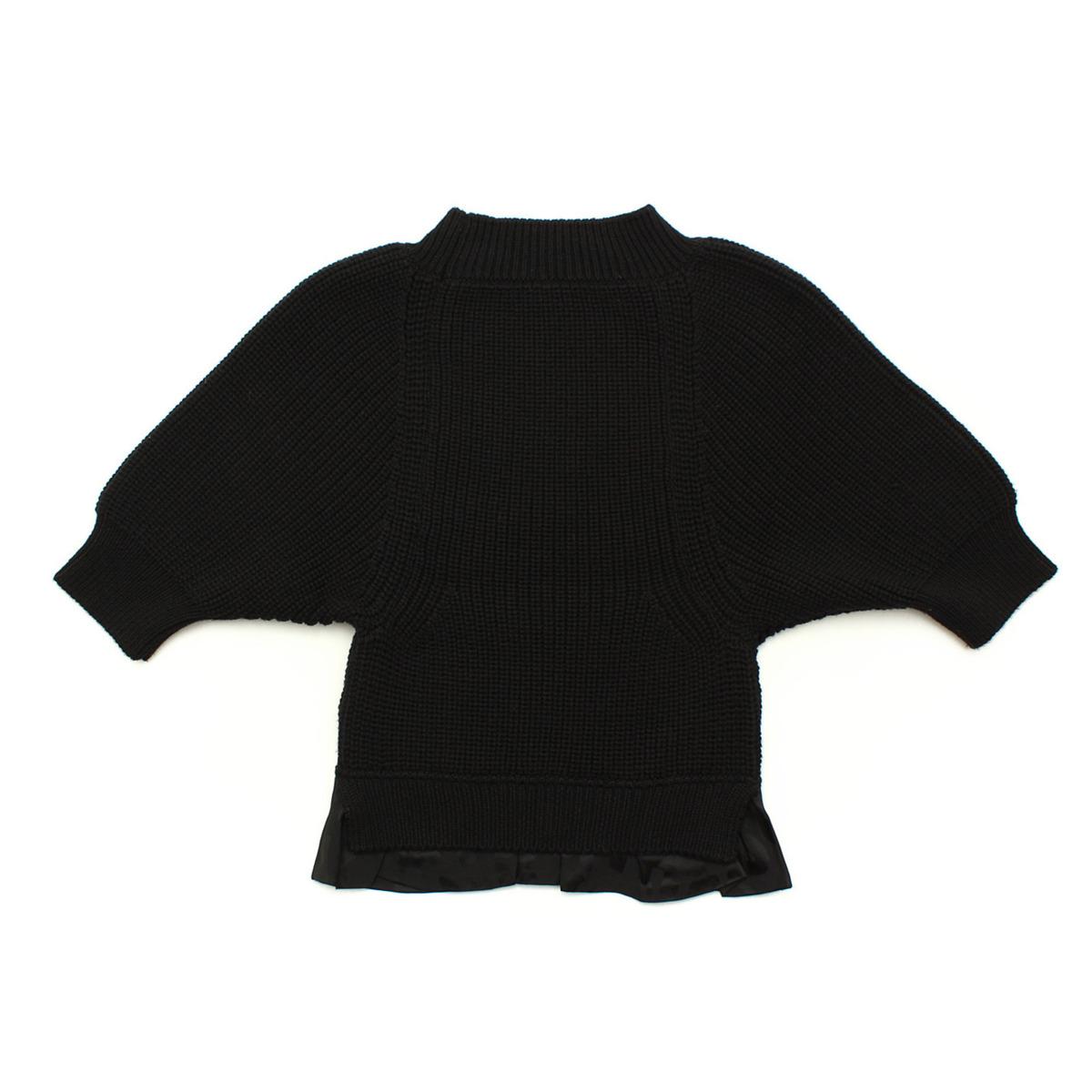 【ルイヴィトン】Louis Vuitton ハイネック 裾フリル ニット トップス ブラック XS 【中古】【鑑定済・正規品保証】【送料無料】28103