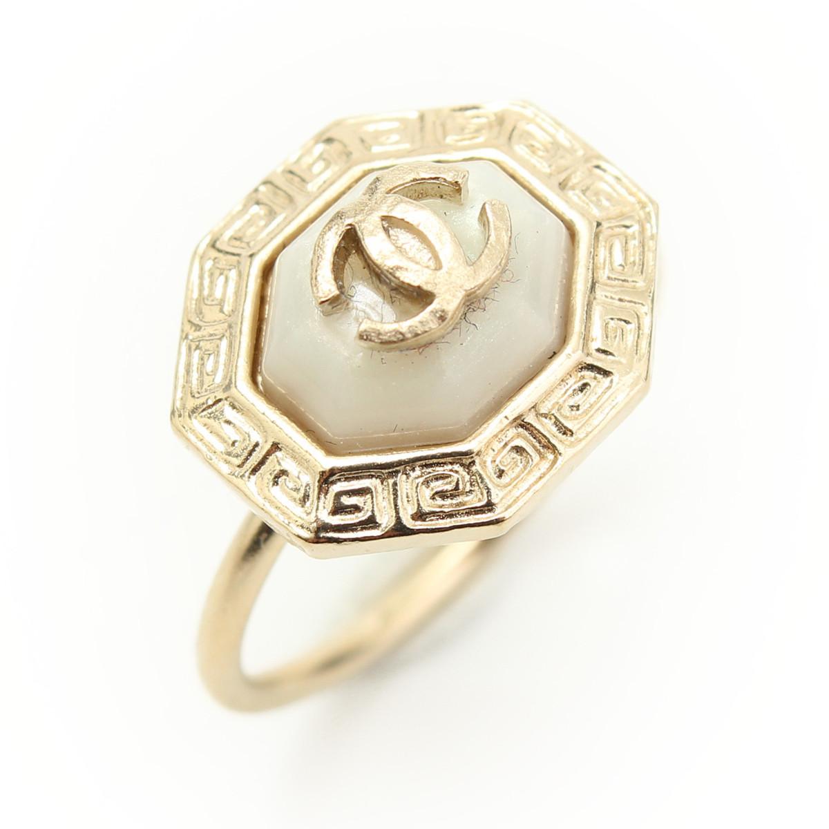 【シャネル】Chanel B16C ココマーク ストーン リング 指輪 ホワイト×ゴールド 12号 【中古】【鑑定済・正規品保証】【送料無料】28868