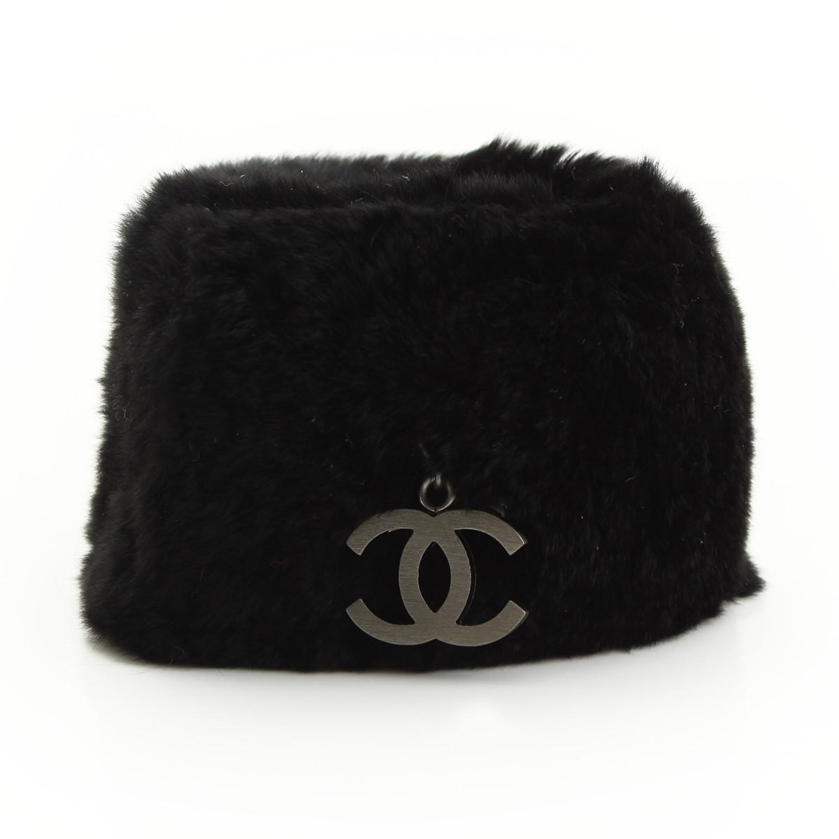 【シャネル】Chanel ココマーク ラビットファー リストバンド バングル ブラック 【中古】【鑑定済・正規品保証】【送料無料】28188