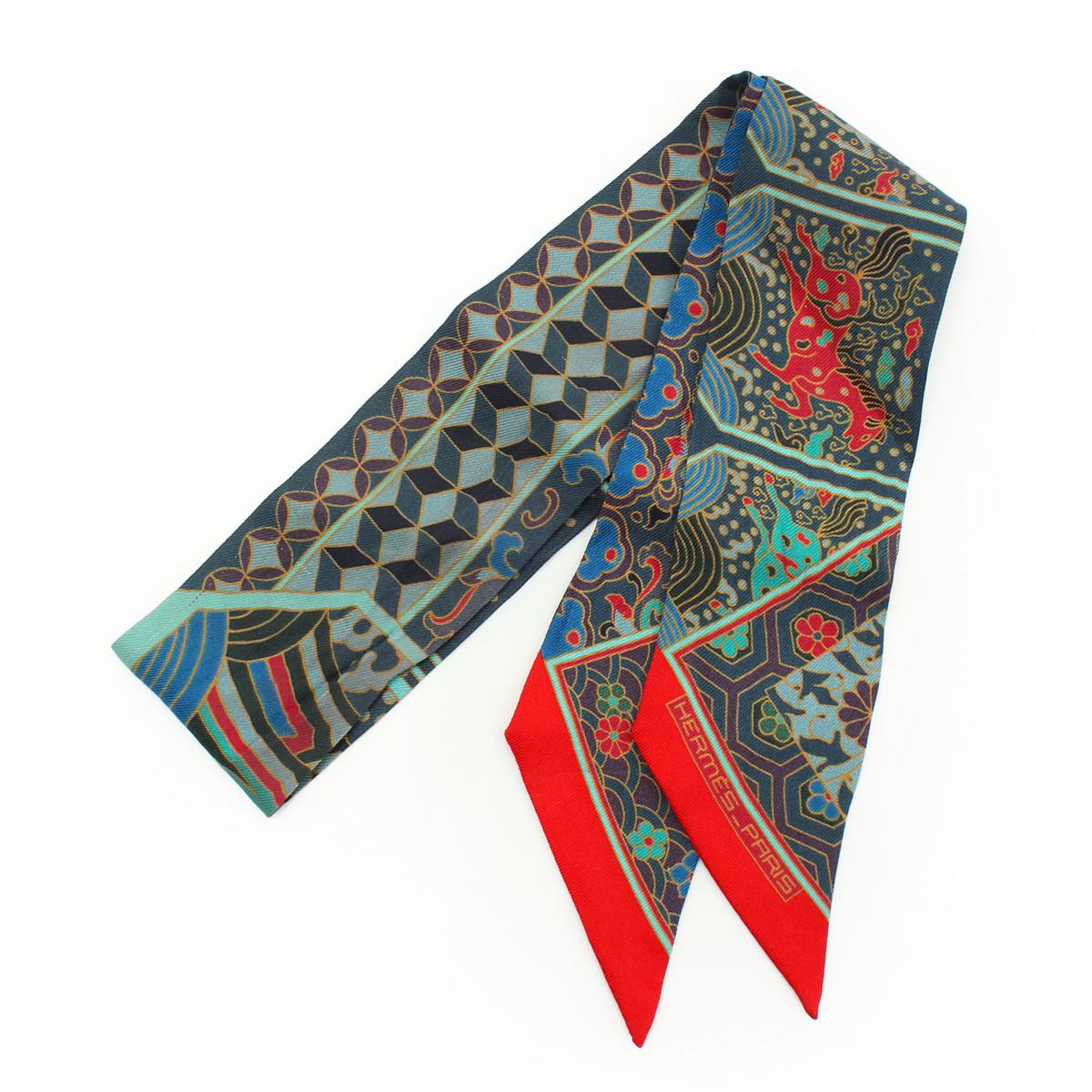 【エルメス】Hermes ツイリー シルク スカーフ グリーン 【中古】【鑑定済・正規品保証】30006
