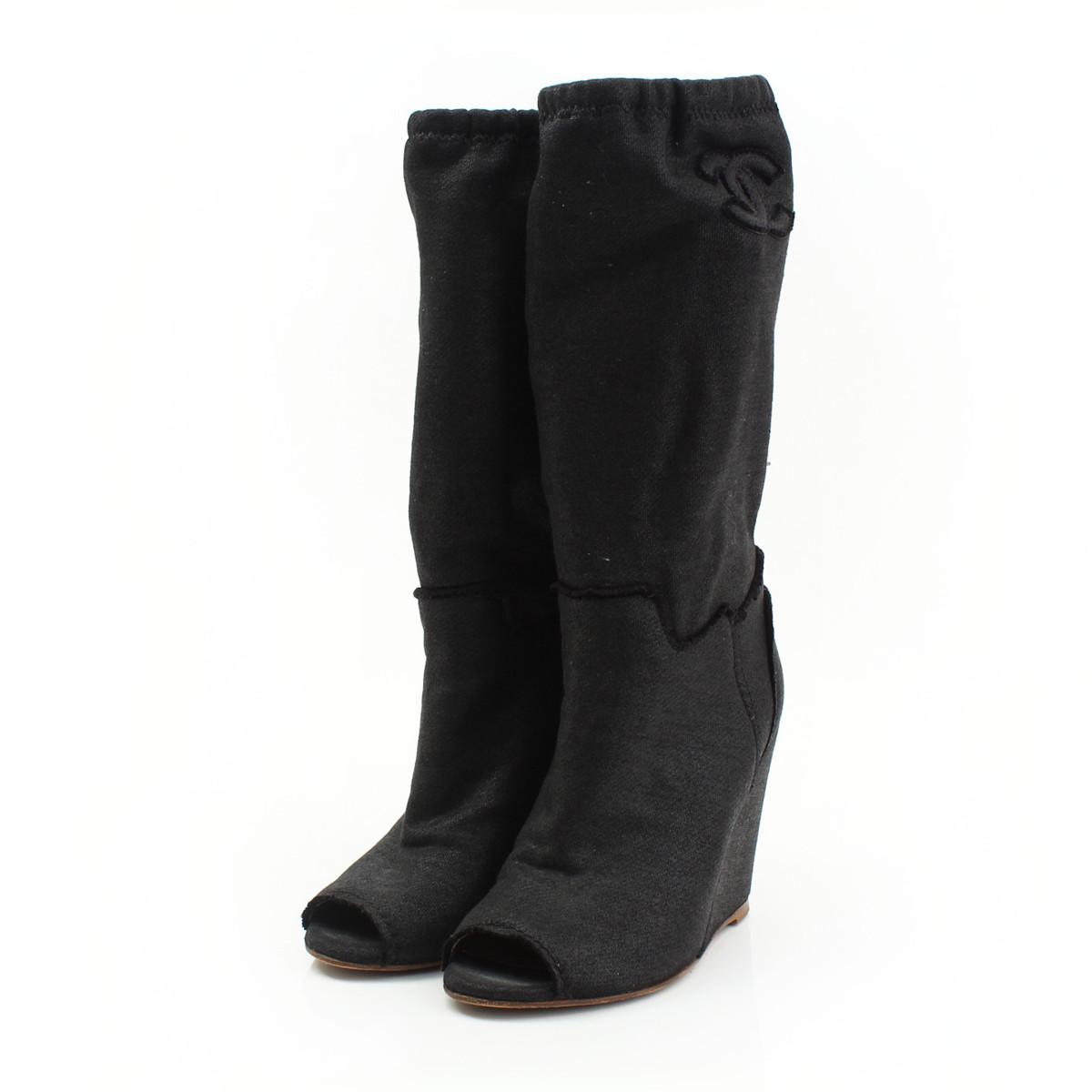 【シャネル】Chanel 08C ココマーク オープントゥ ウェッジソール ブーツ G25920 グレー 35 1/2 【中古】【鑑定済・正規品保証】【送料無料】30345