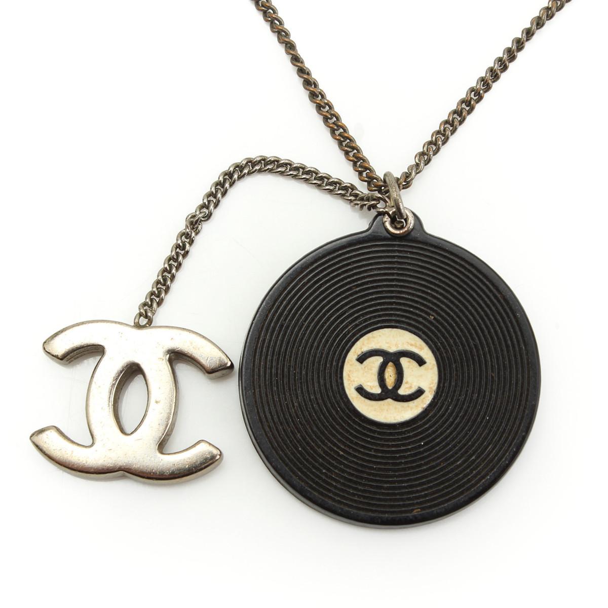 【シャネル】Chanel 04P レコード ココマーク ネックレス ブラック 【中古】【鑑定済・正規品保証】【送料無料】29453
