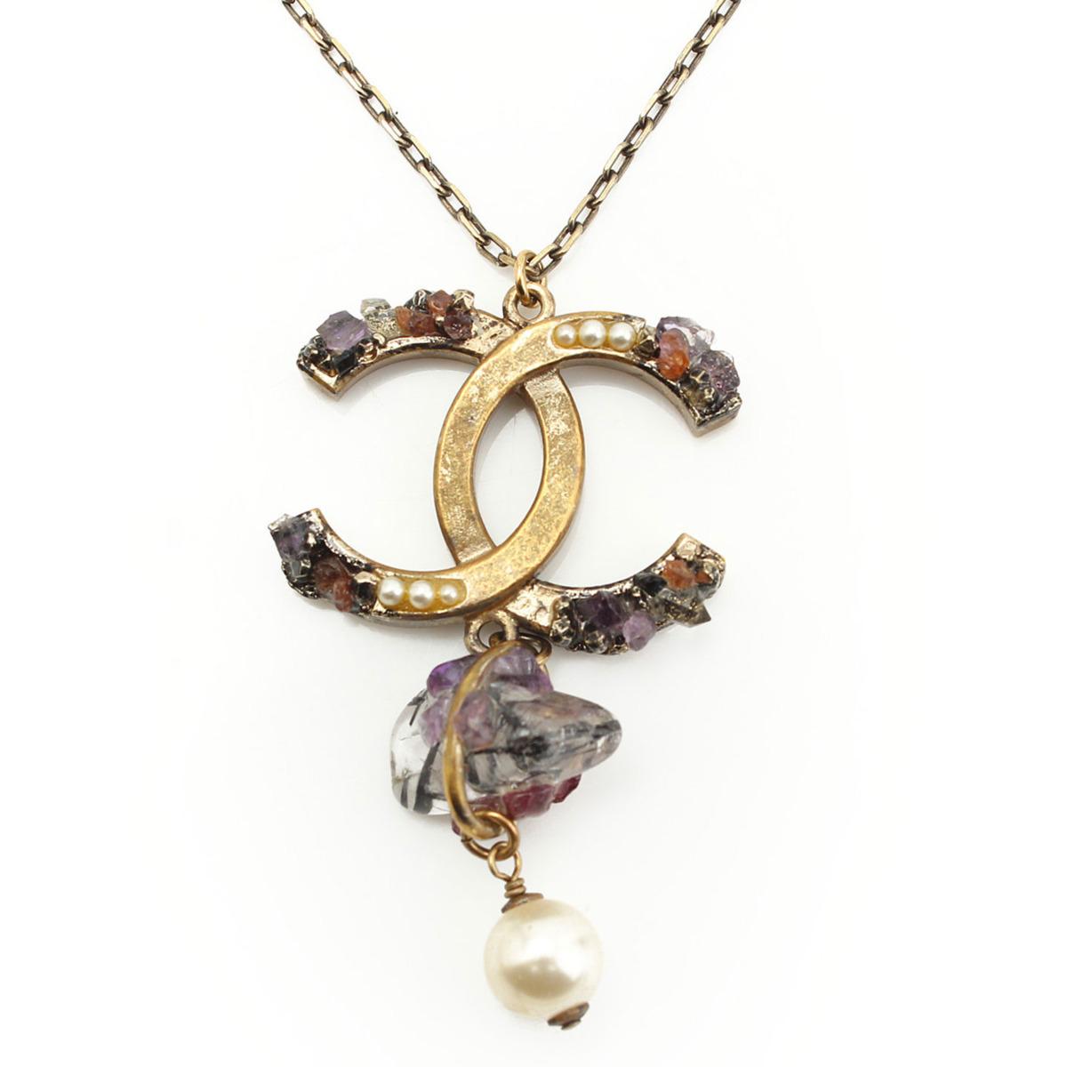 【シャネル】Chanel 12A 鉱石 ココマーク パールネックレス  【中古】【鑑定済・正規品保証】【送料無料】29432