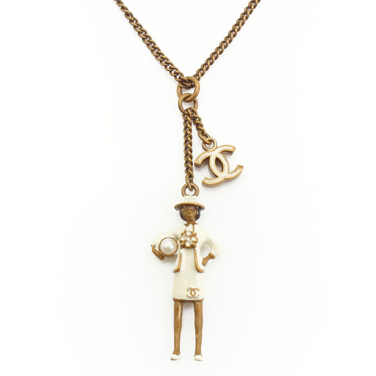 【シャネル】Chanel B12 ココマドモアゼル パール ミニドール ネックレス ゴールド  【中古】【鑑定済・正規品保証】【送料無料】29467