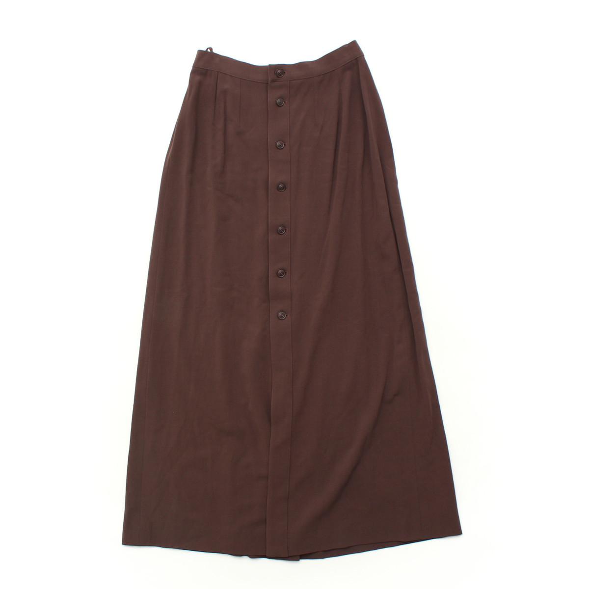 【シャネル】Chanel ウール ロングスカート 99P ワインレッド 38 【中古】【鑑定済・正規品保証】【送料無料】30655