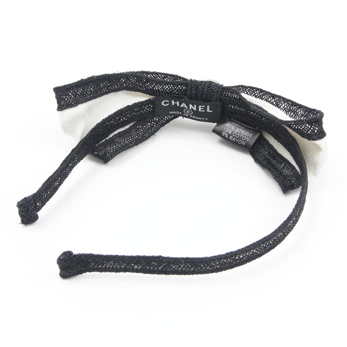 【シャネル】Chanel ココボタン ストロー リボン カチューシャ バイカラー 【中古】【鑑定済・正規品保証】【送料無料】31663