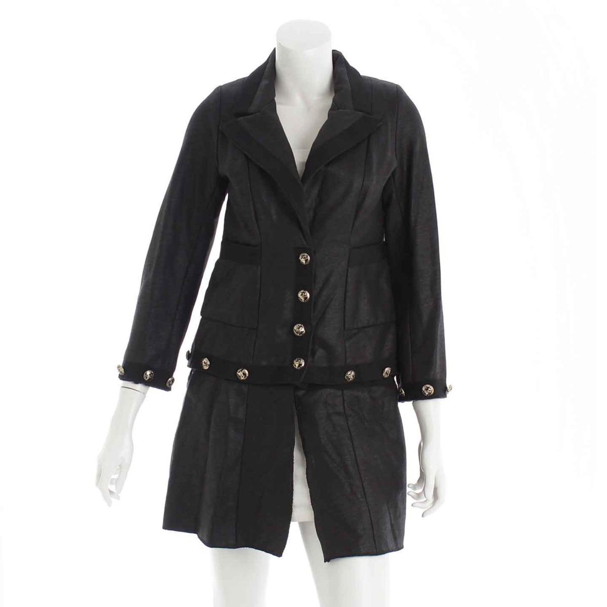 【シャネル】Chanel 08C COCO エアライン 2WAY ジャケット コート ブラック 38 【中古】【鑑定済・正規品保証】【送料無料】31582