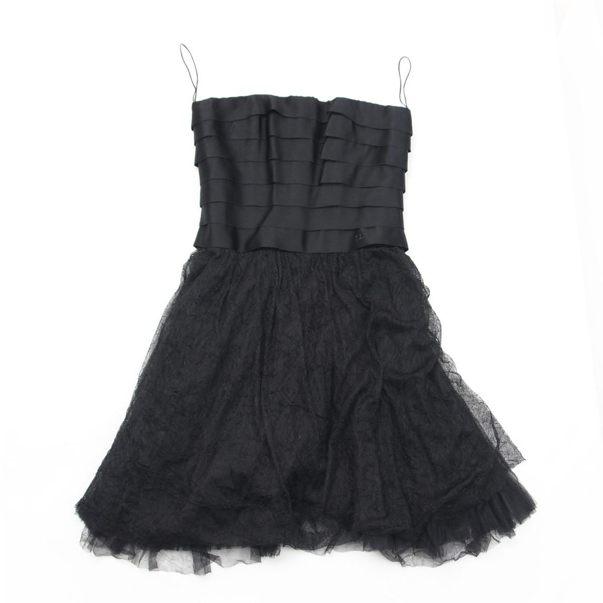 【シャネル】Chanel 美品 リトルブラック ベアトップ ドレス 34 【中古】【鑑定済・正規品保証】【送料無料】31564
