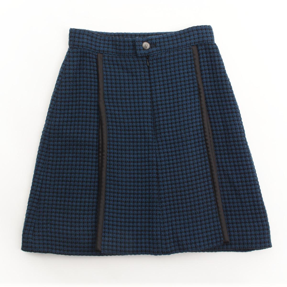 【シャネル】Chanel 08A ツイード ライオンボタン スカート ブルー 36 【中古】【鑑定済・正規品保証】【送料無料】31763