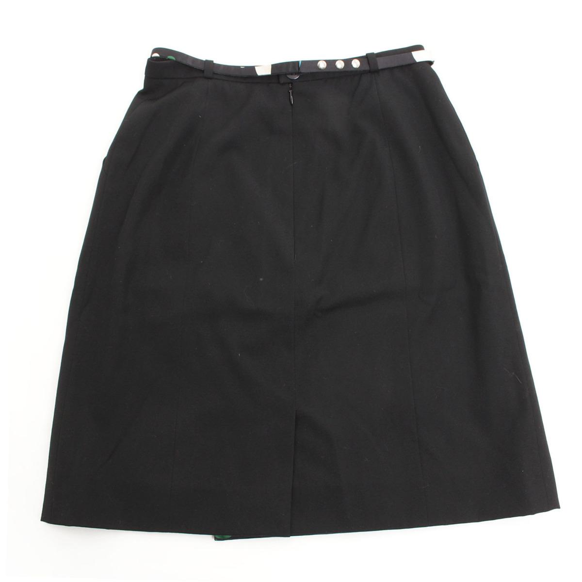 【シャネル】Chanel ベルト付きスカート ブラック 裏地ツバメ柄 38 【中古】【鑑定済・正規品保証】31782