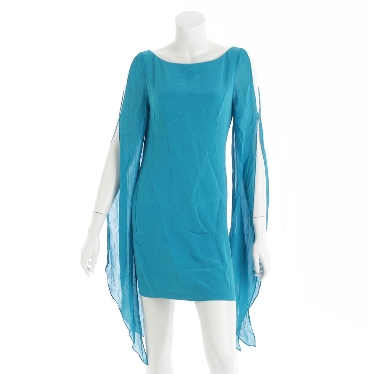 【】 パトリシアフィールド シルク ワンピース ドレス ブルー 4 【中古】【鑑定済・正規品保証】【送料無料】31767
