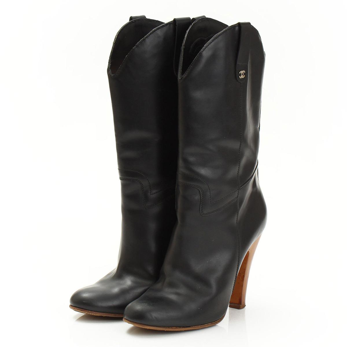 【シャネル】Chanel 07A レザー ブーツ G25775 ブラック 38 1/2 【中古】【鑑定済・正規品保証】【送料無料】29533