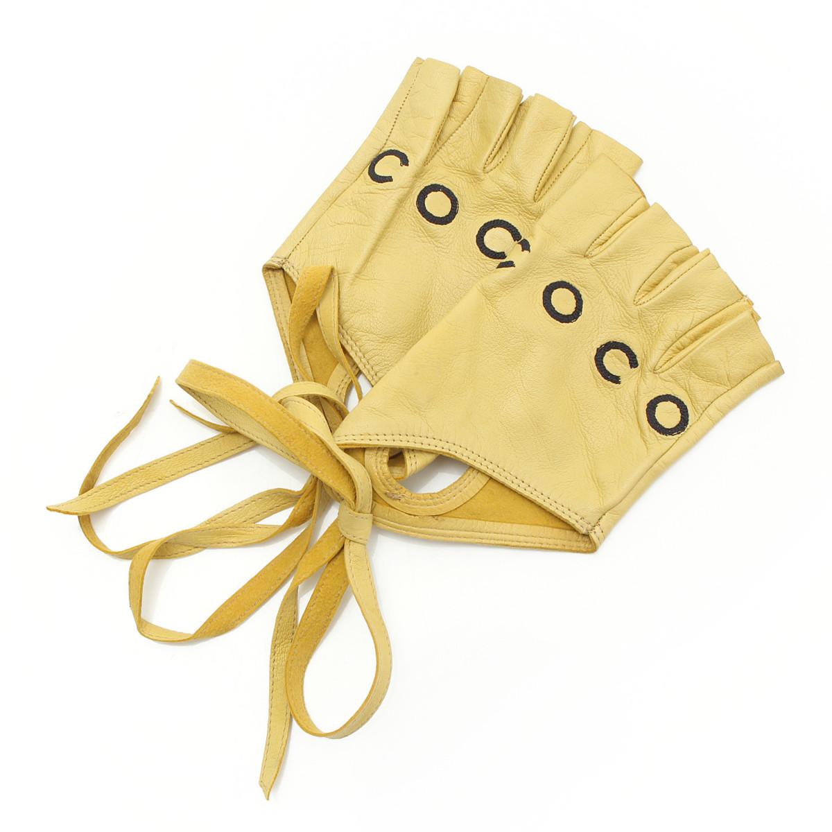 【シャネル】Chanel 01P COCO フィンガーレス レザー グローブ 手袋 イエロー 【中古】【鑑定済・正規品保証】【送料無料】29521