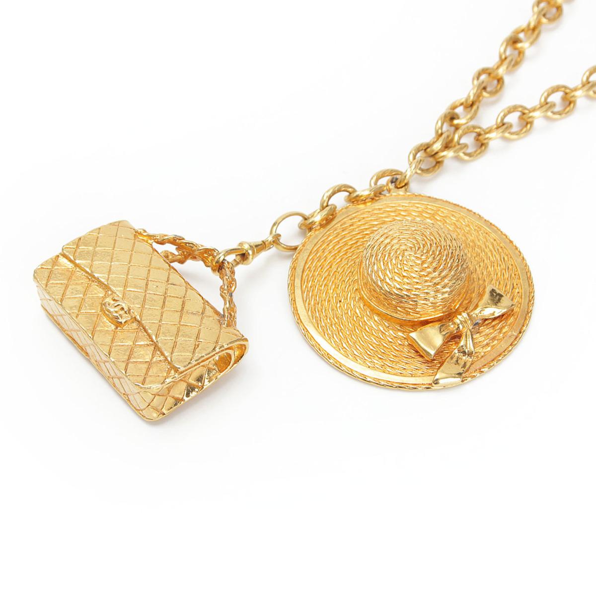【シャネル】Chanel デカマトラッセ バッグ 帽子 モチーフ ネックレス ゴールド 【中古】【鑑定済・正規品保証】【送料無料】32345
