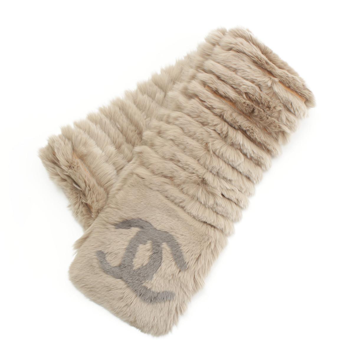 【シャネル】Chanel オリラグ ファー マフラー ベージュ 【中古】【鑑定済・正規品保証】【送料無料】29580