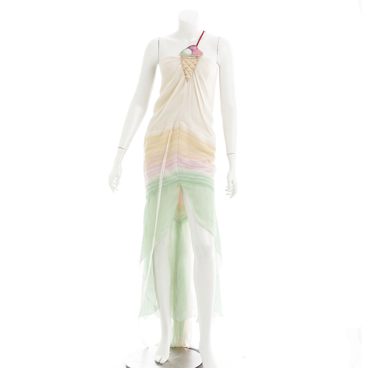 【シャネル】Chanel アイスクリーム ドレス フリンジ 36 【中古】【鑑定済・正規品保証】【送料無料】29610