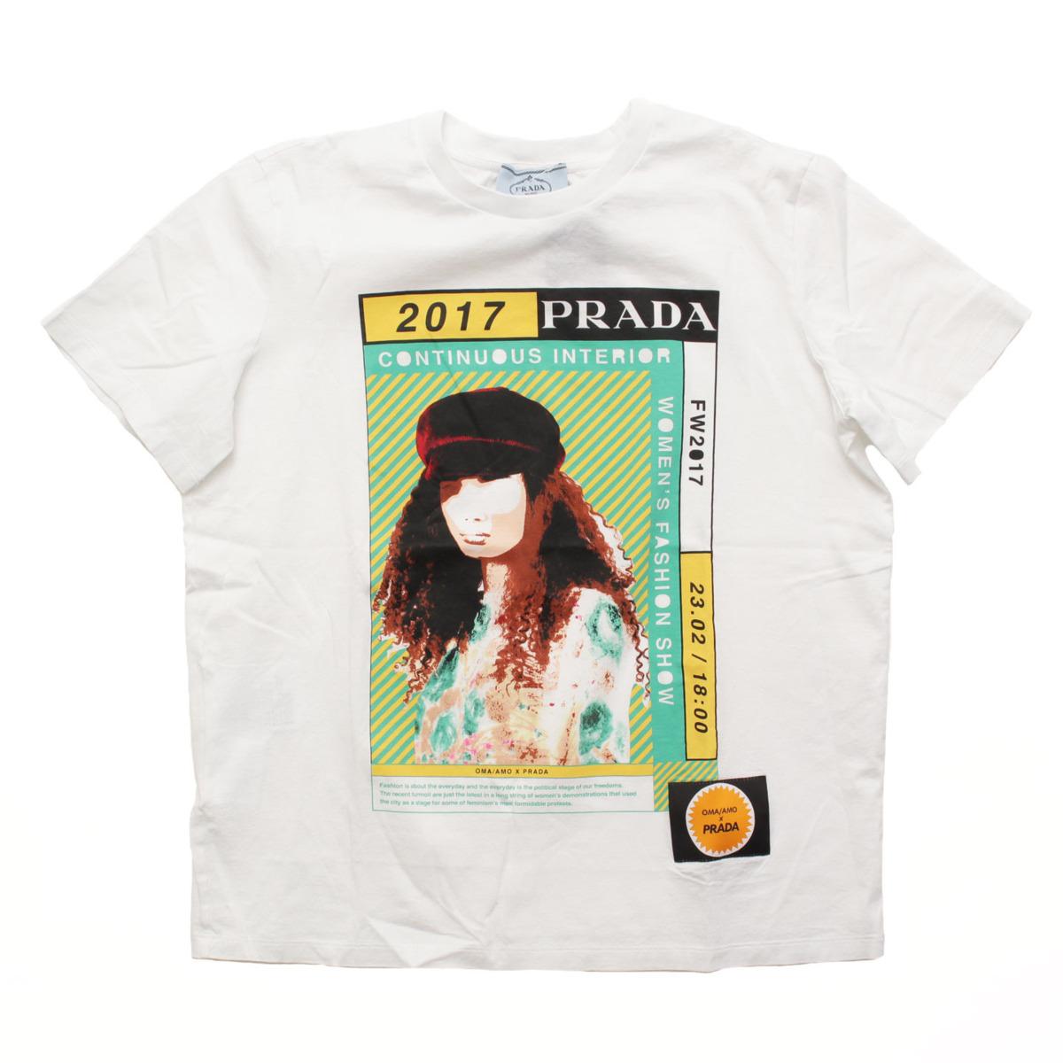 【プラダ】Prada 17AW Poster Girl プリント Tシャツ ホワイト M 【中古】【鑑定済・正規品保証】32760