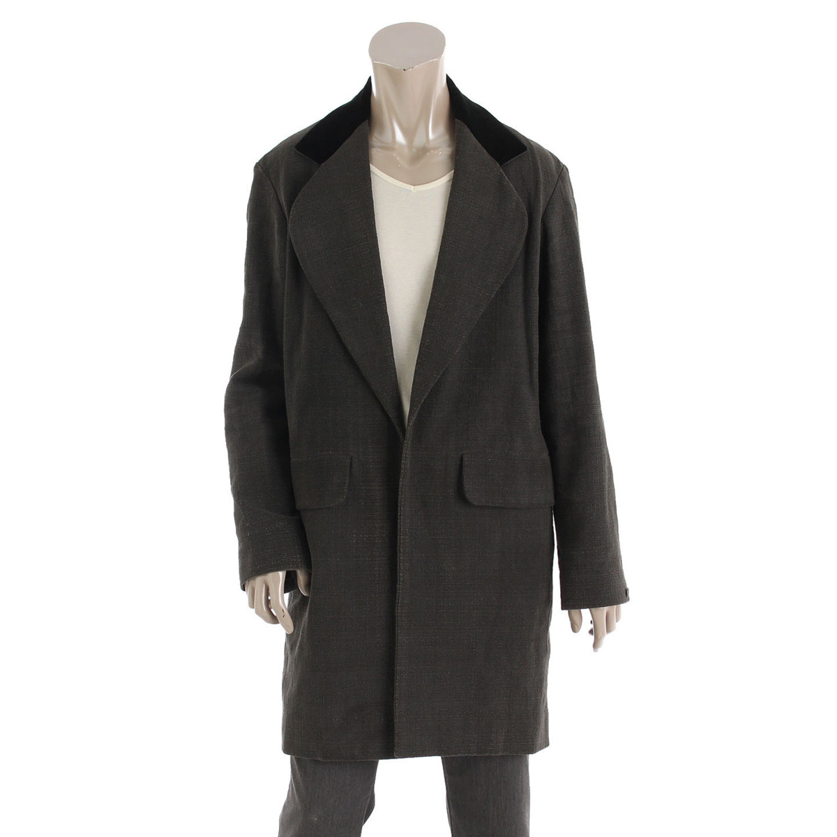 【シャネル】Chanel メンズ コットン ベロア ロングコート ジャケット グレー 46 【中古】【鑑定済・正規品保証】【送料無料】34982