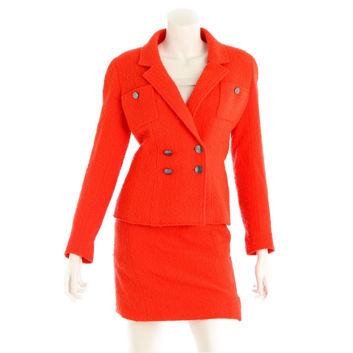 【シャネル】Chanel ココマークボタン ウール セットアップ ジャケット スカート 97C オレンジ 38 【中古】【鑑定済・正規品保証】【送料無料】35324
