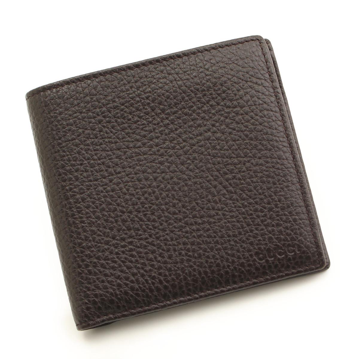 【グッチ】Gucci メンズ レザー 二つ折り 財布 150413 ダークブラウン 【中古】【鑑定済・正規品保証】35356