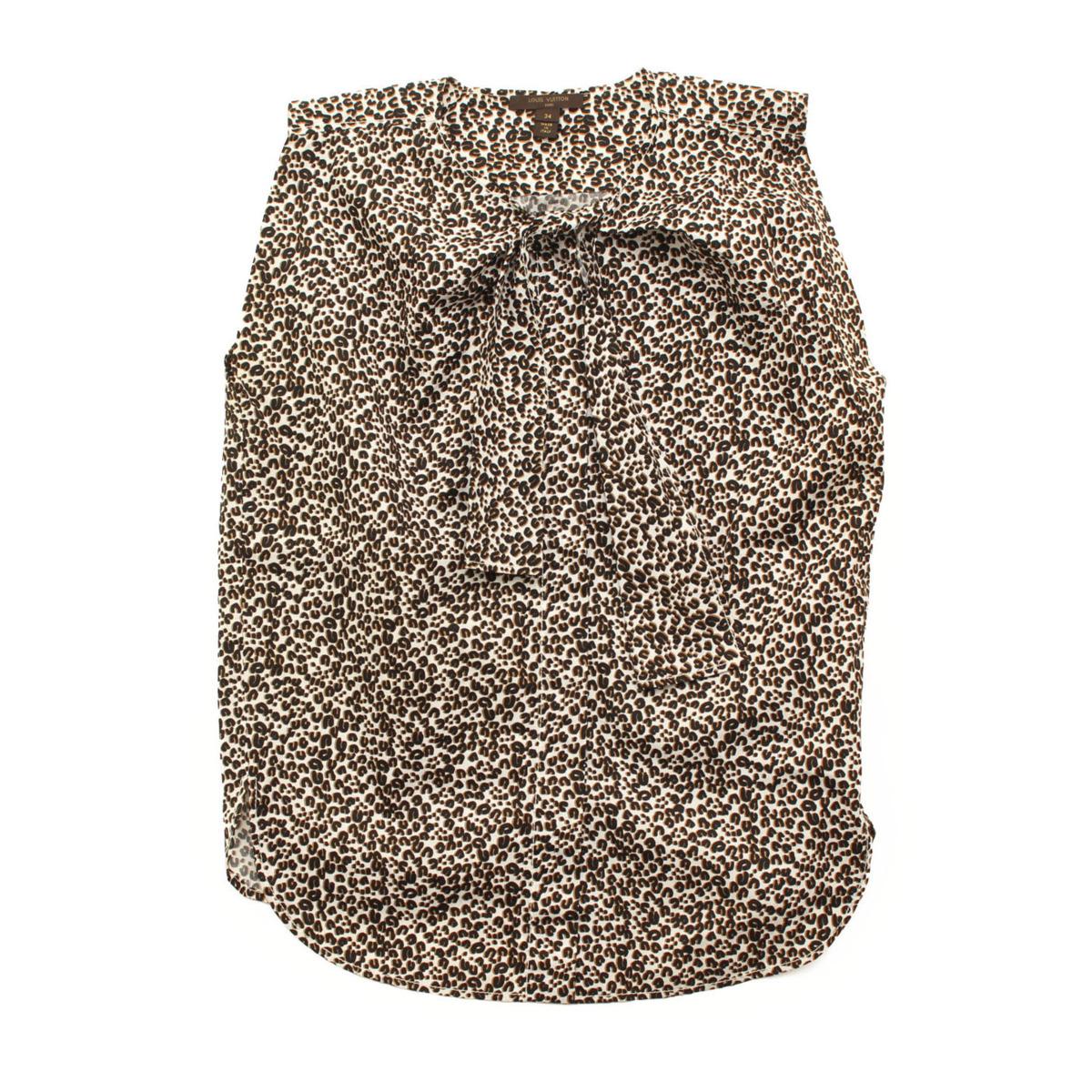 【ルイヴィトン】Louis Vuitton レオパード ブラウス ホワイト ベージュ ブラック 34 【中古】【鑑定済・正規品保証】【送料無料】36210