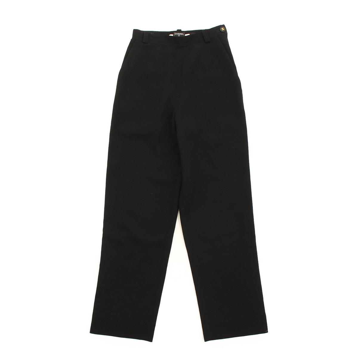 【シャネル】Chanel ウール パンツ ブラック 34 【中古】【鑑定済・正規品保証】【送料無料】36446