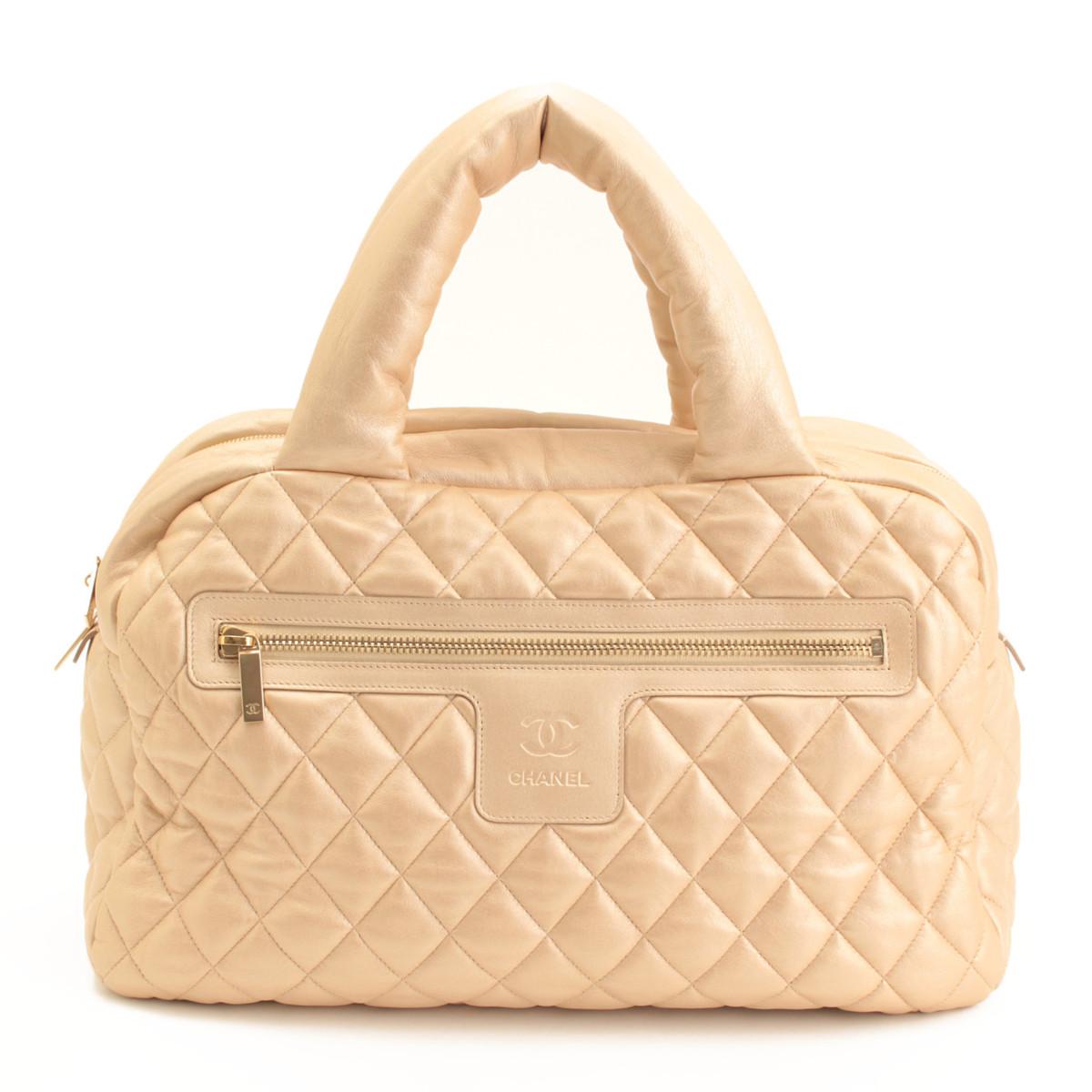 【シャネル】Chanel コココクーン ラムスキン ボストンバッグ A47937 13番台 ゴールド 【中古】【鑑定済・正規品保証】【送料無料】37100