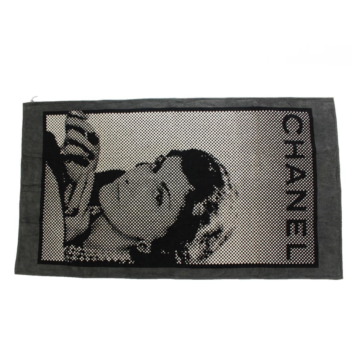 【シャネル】Chanel ビーチタオル バスマット ココ マドモアゼル ドット  【中古】【鑑定済・正規品保証】【送料無料】37335