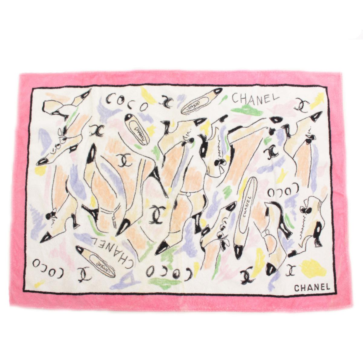 【シャネル】Chanel ビーチタオル マット ココ マドモアゼル パンプス柄 ピンク  【中古】【鑑定済・正規品保証】【送料無料】37339