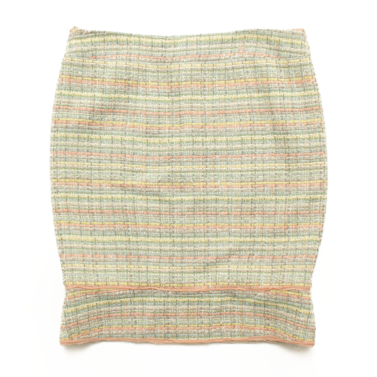 【シャネル】Chanel ツイード タイトスカート 05P グリーン系 44 【中古】【鑑定済・正規品保証】37568