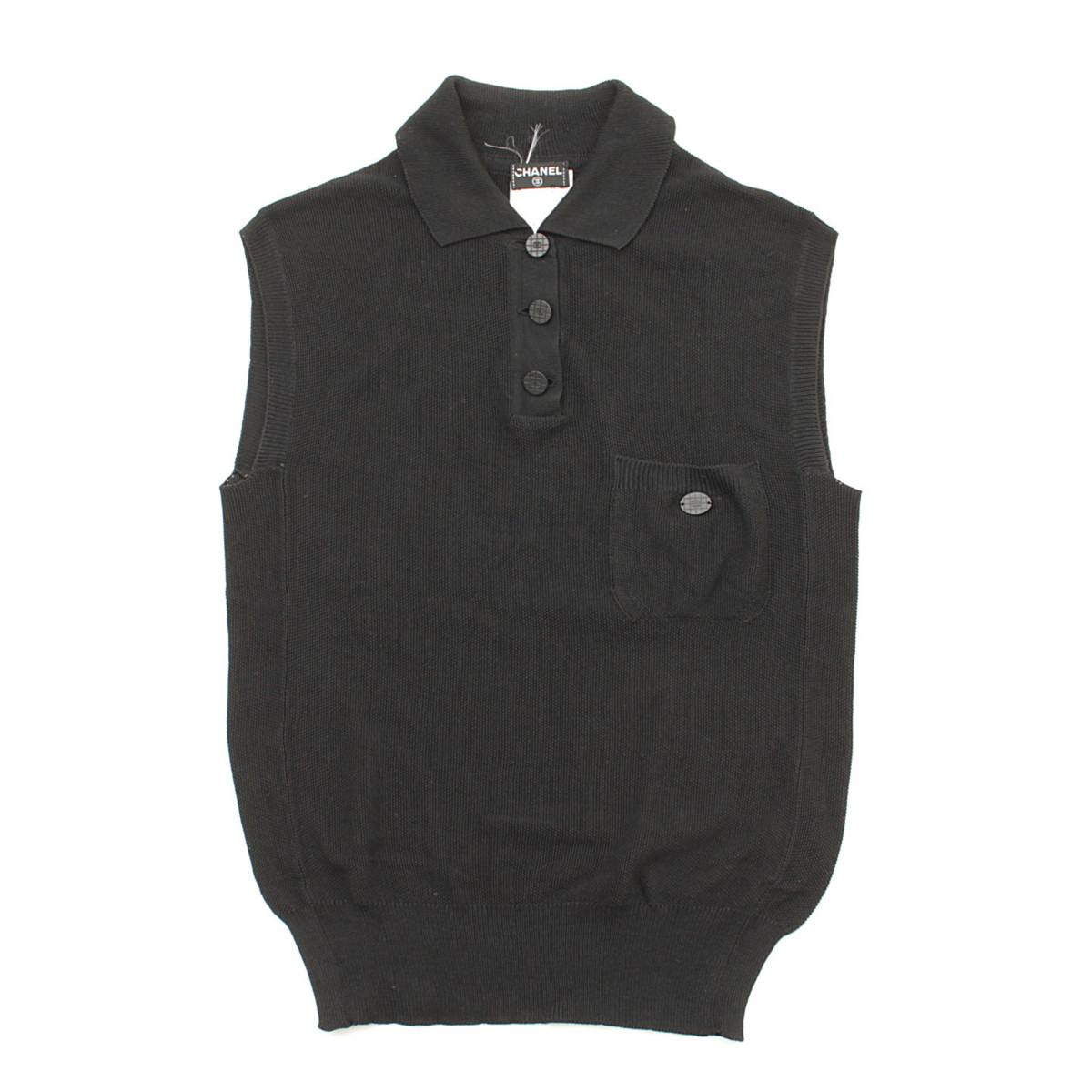 【シャネル】Chanel ココボタン シルク ノースリーブトップス ブラック 01P 38 【中古】【鑑定済・正規品保証】37836
