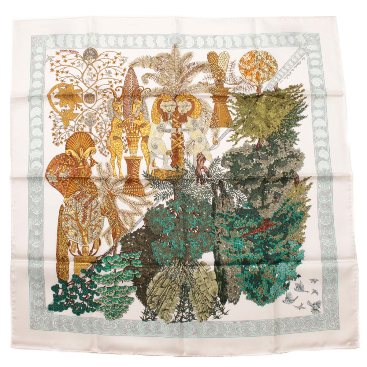 【エルメス】Hermes カレ90 シルクスカーフ Les Legendes de L'Arbre 木の伝説 【中古】【鑑定済・正規品保証】【送料無料】37604