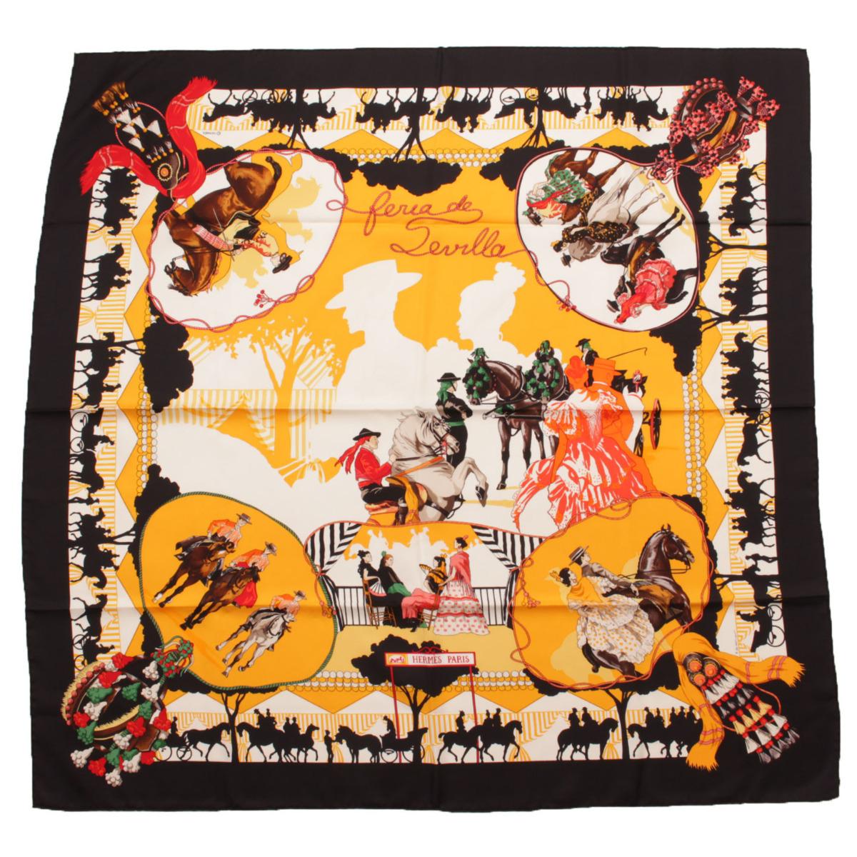 【エルメス】Hermes カレ90 シルクスカーフ ferea de levlla カウボーイ 【中古】【鑑定済・正規品保証】37323
