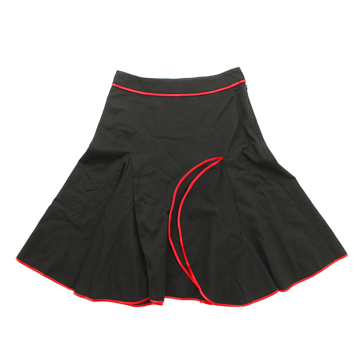 【ルイヴィトン】Louis Vuitton パイピング ウール フレア スカート ブラック 38 【中古】【鑑定済・正規品保証】38146
