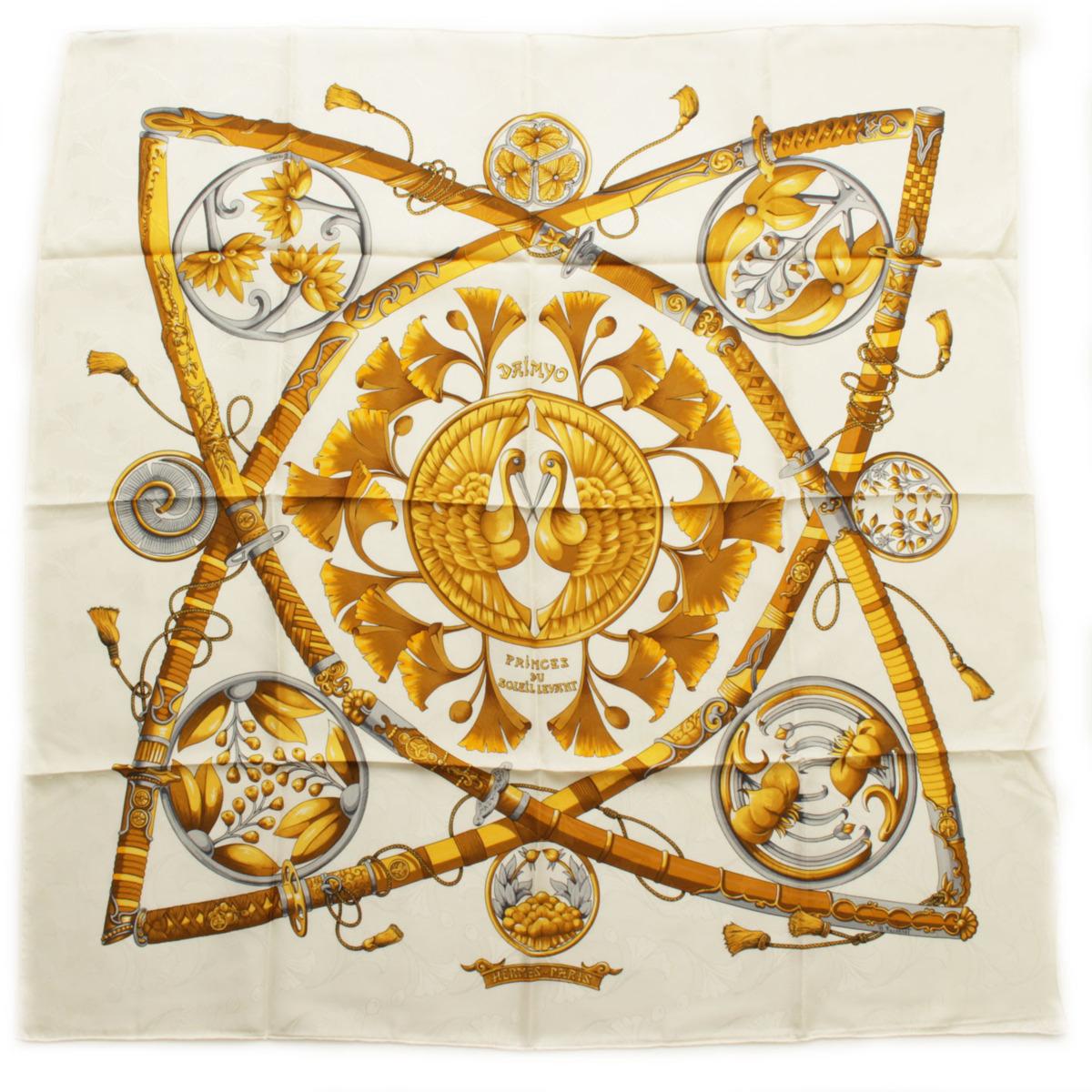 【エルメス】Hermes カレ90 シルクスカーフ DAIMYO PRINCES DU SOLEIL LEVANT 大名 日出る国の皇子 【中古】【鑑定済・正規品保証】【送料無料】38630
