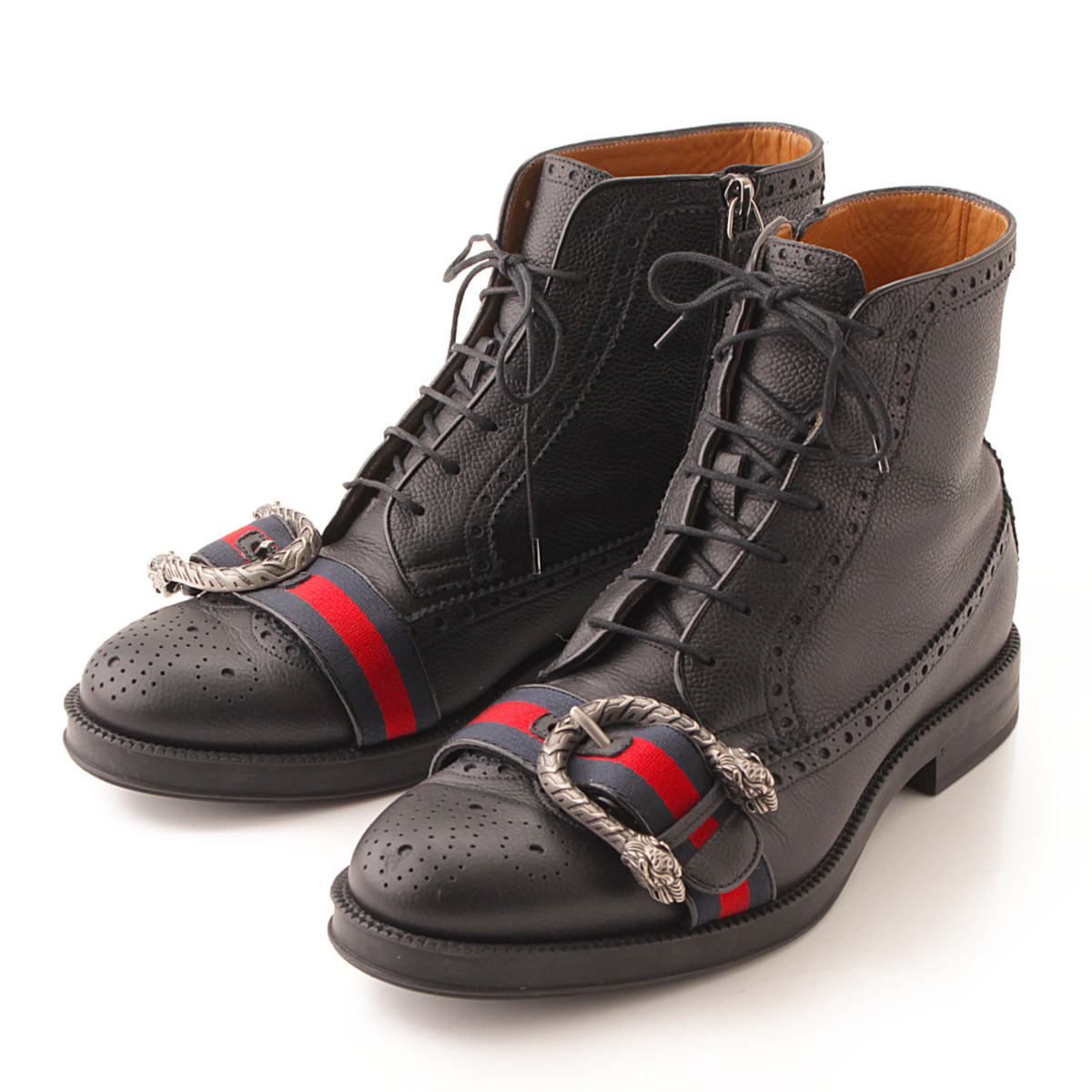 【グッチ】Gucci ウェブ付き レザー ブローグ ブーツ メンズ 496250 ブラック 8 1/2 【中古】【鑑定済・正規品保証】【送料無料】39616
