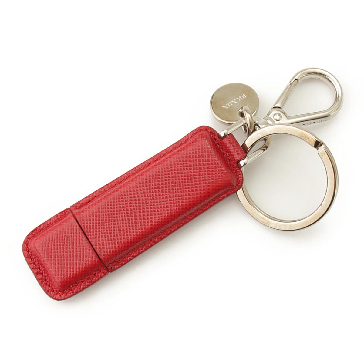 【プラダ】Prada USB メモリ 4GB キーリング キーホルダー 2ARA21 レザー レッド 【中古】【鑑定済・正規品保証】【送料無料】40306
