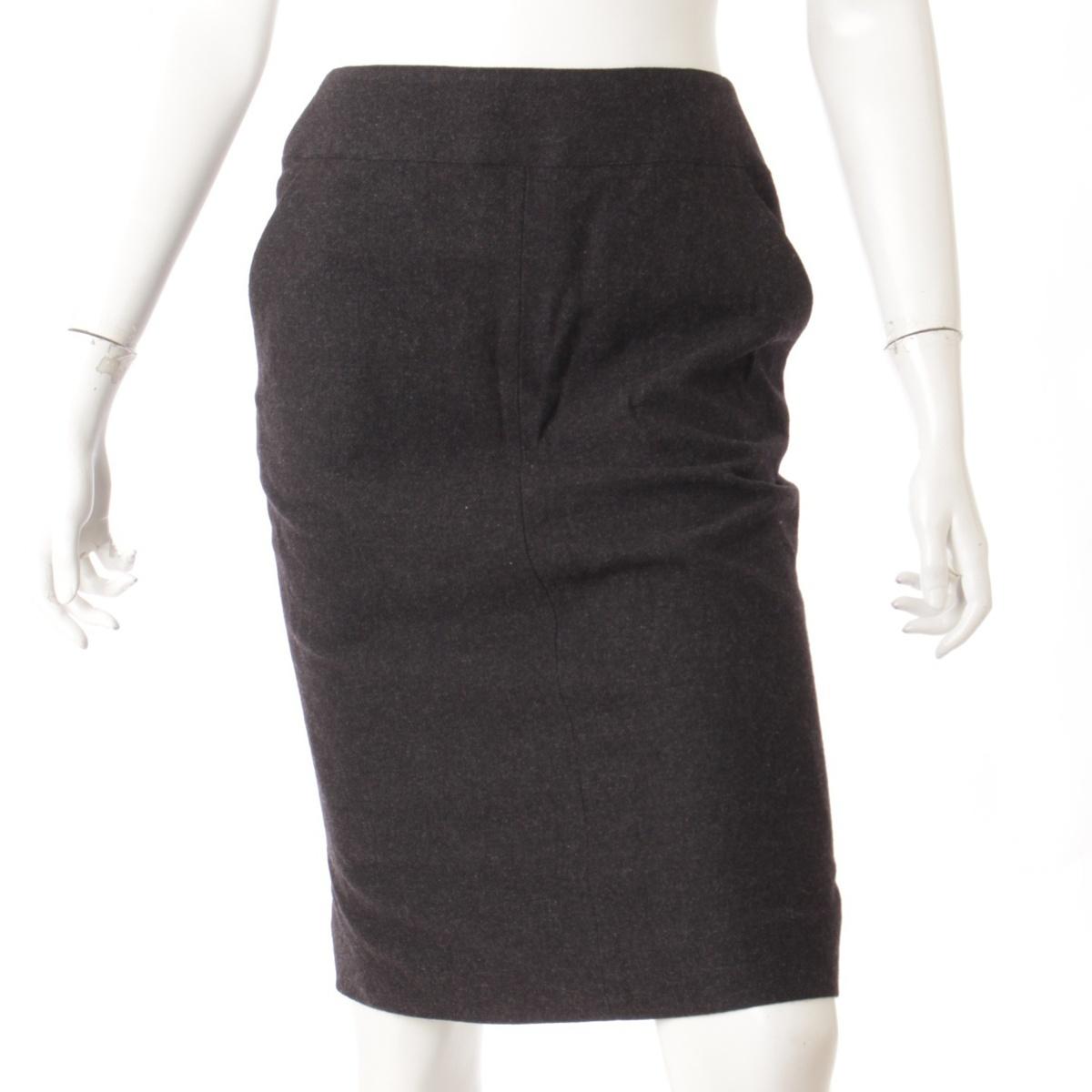 【シャネル】Chanel カシミヤ タイトスカート 09A ブラック 36 【中古】【鑑定済・正規品保証】52410