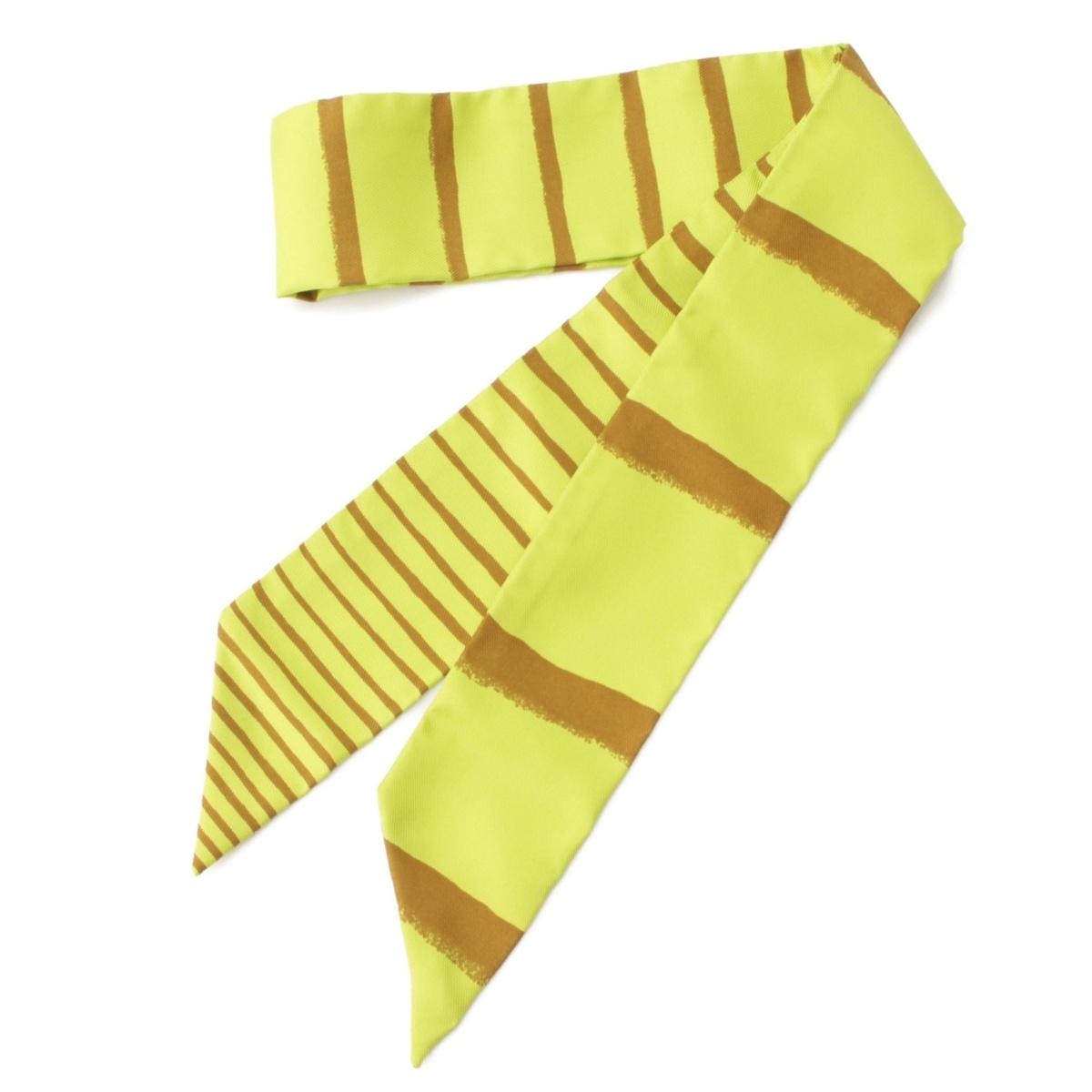 【エルメス】Hermes ツイリー シルク スカーフ ストライプ グリーン×ブラウン 【中古】【鑑定済・正規品保証】52056