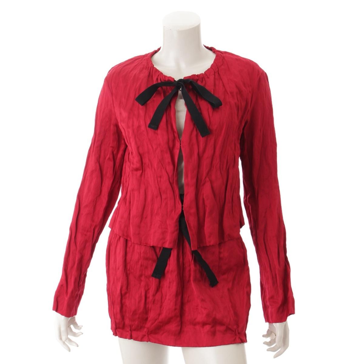 【プラダ】Prada シルク混 ジャケット スカート セットアップ レッド 40 36 【中古】【鑑定済・正規品保証】52687
