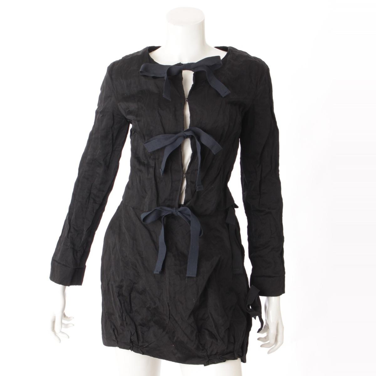 【プラダ】Prada ジャケット スカート セットアップ ブラック 36 【中古】【鑑定済・正規品保証】52688