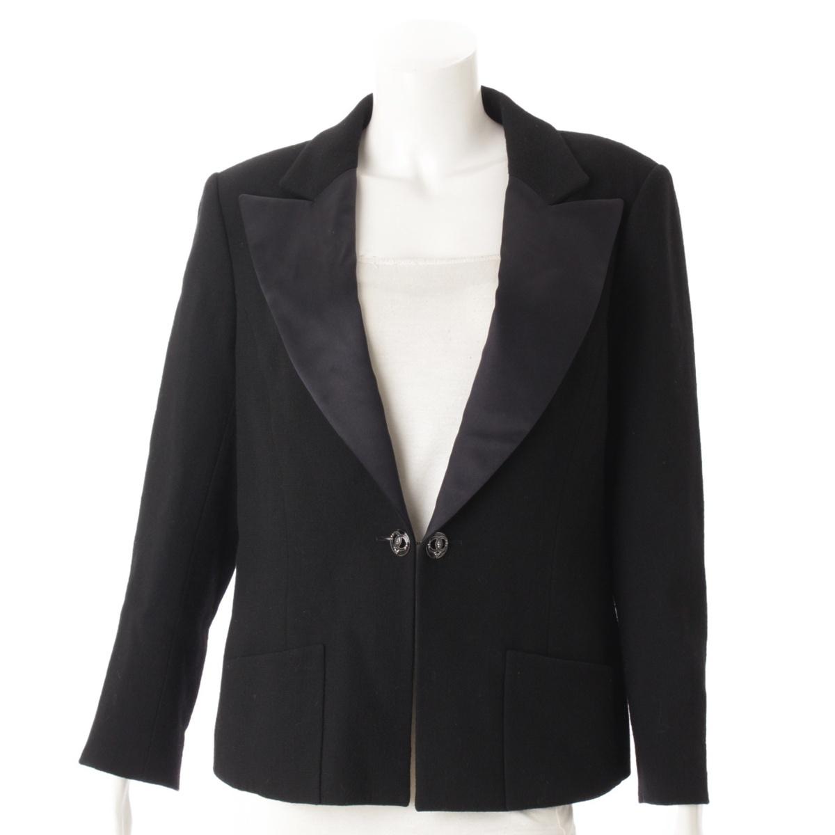 【シャネル】Chanel 09C シルクカラー ウール ジャケット P34718 ブラック 44 【中古】【鑑定済・正規品保証】53229
