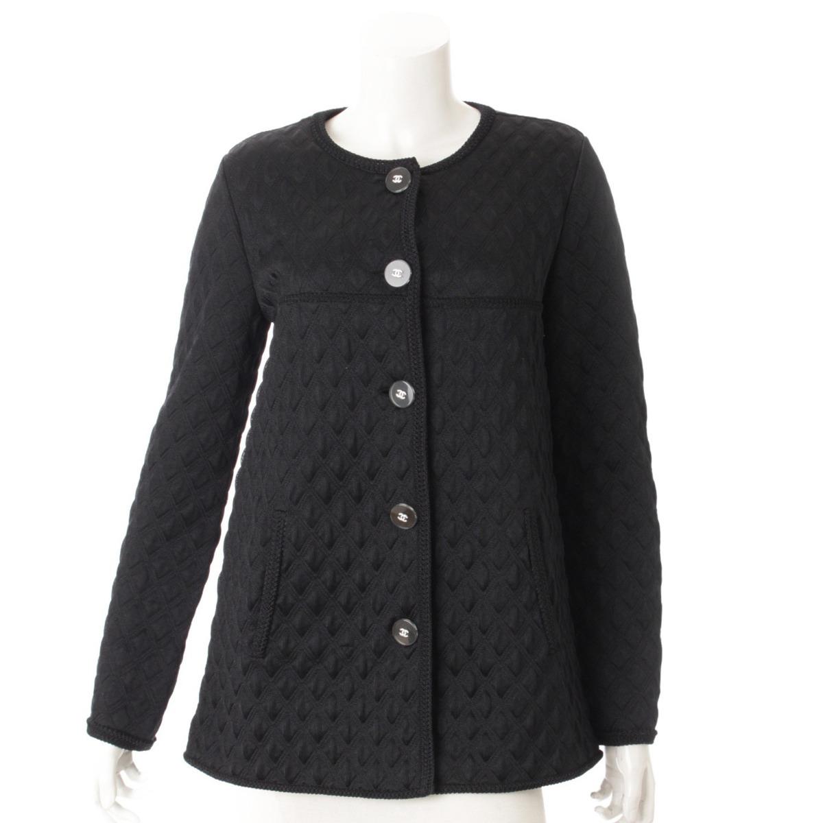 【シャネル】Chanel 17A シルク混 キルティング ノーカラージャケット P57087 ブラック 38 【中古】【鑑定済・正規品保証】54036