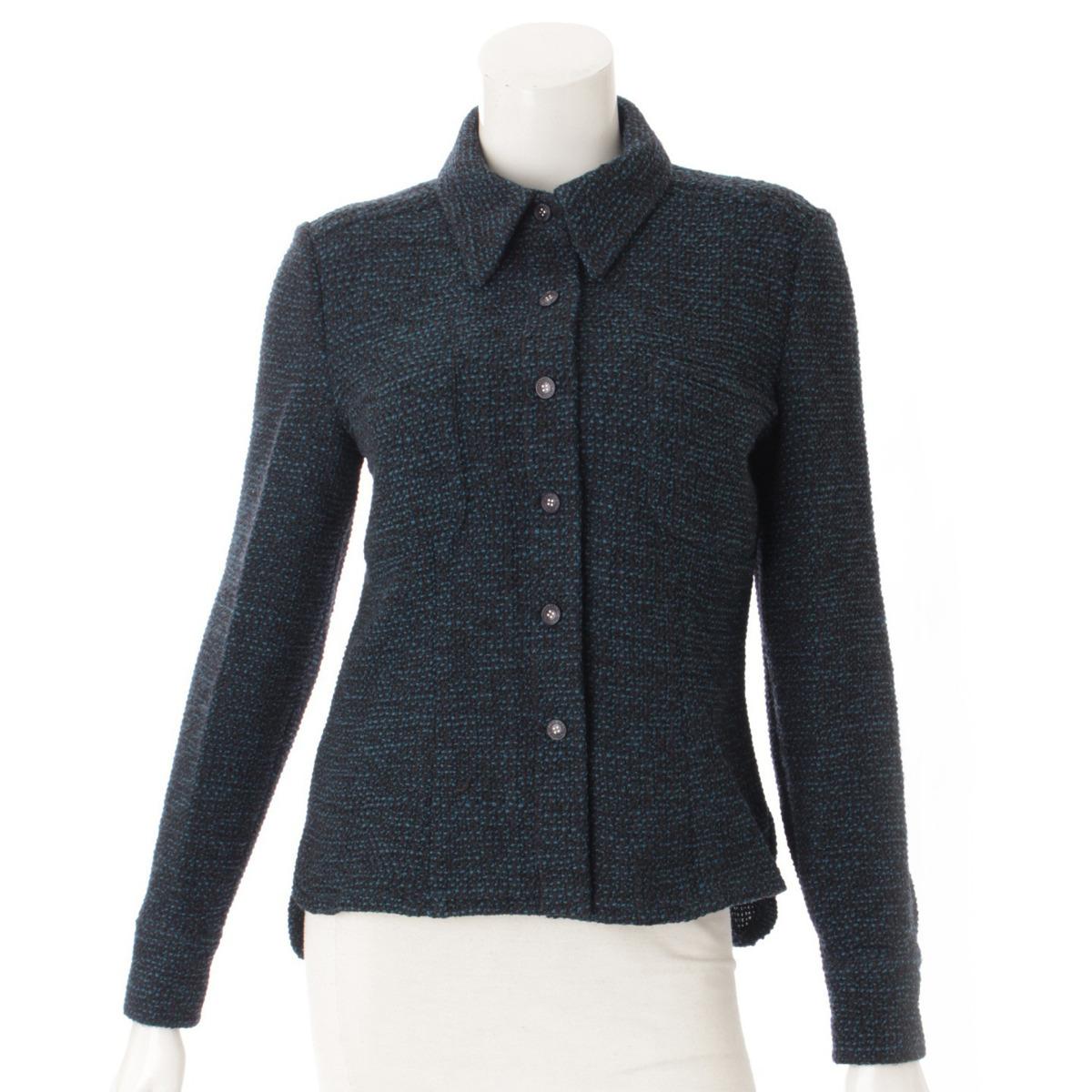 【シャネル】Chanel ツイード シャツ ジャケット P19970 ブルー×ブラック 38 【中古】【鑑定済・正規品保証】53967