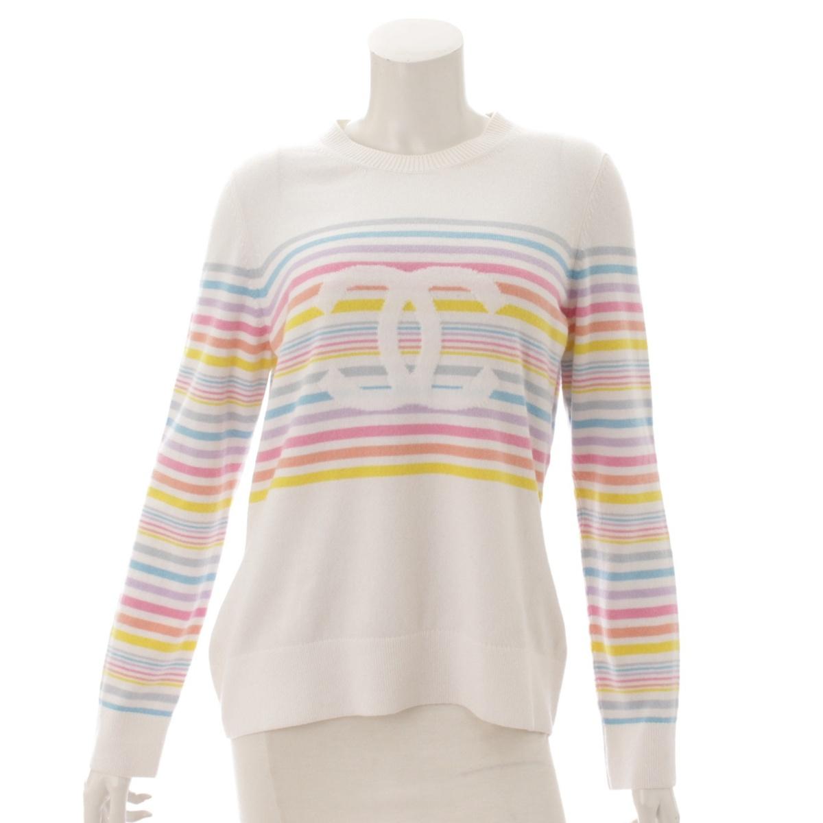 【シャネル】Chanel 19C カシミヤ レインボー ニット セーター P60508 マルチカラー 42 未使用【中古】【鑑定済・正規品保証】54030