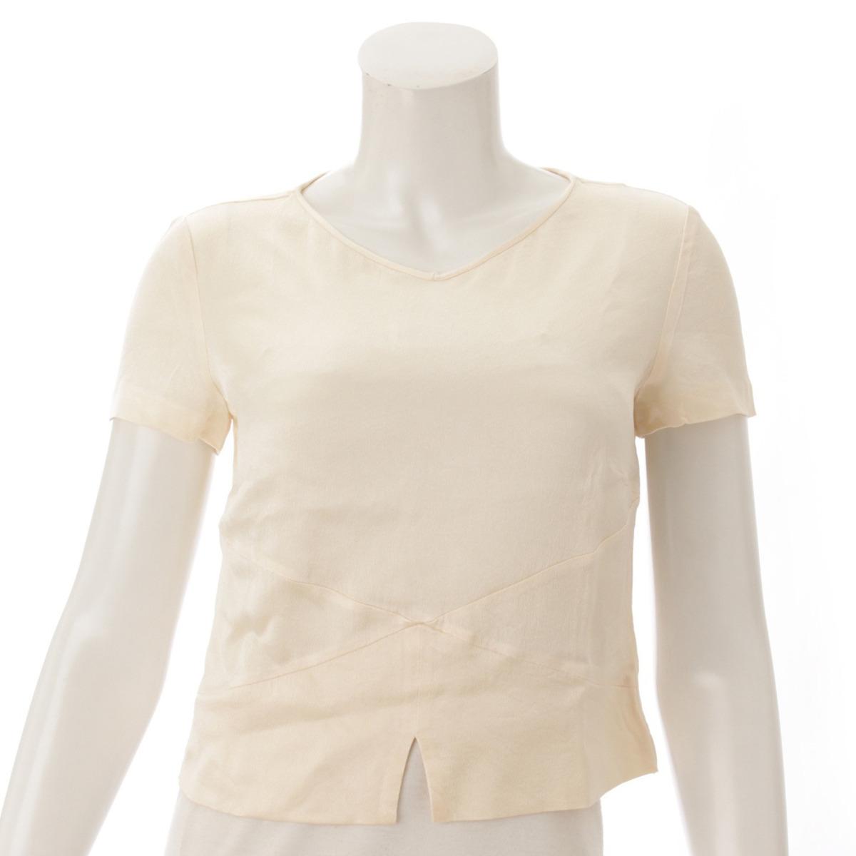 【シャネル】Chanel 98A シルク Tシャツ ブラウス P11624 ベージュ 38 【中古】【鑑定済・正規品保証】53965